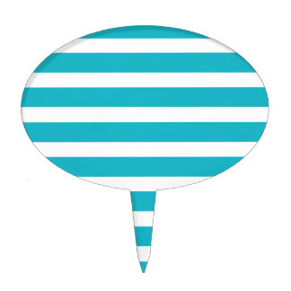 Turquoise and White Stripe Nautical Summer Cake Topper
