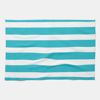 Turquoise and White Stripe Nautical Summer Hand Towel