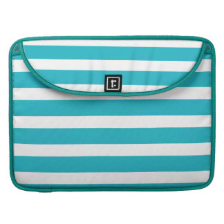 Turquoise and White Stripe Nautical Summer MacBook Pro Sleeves