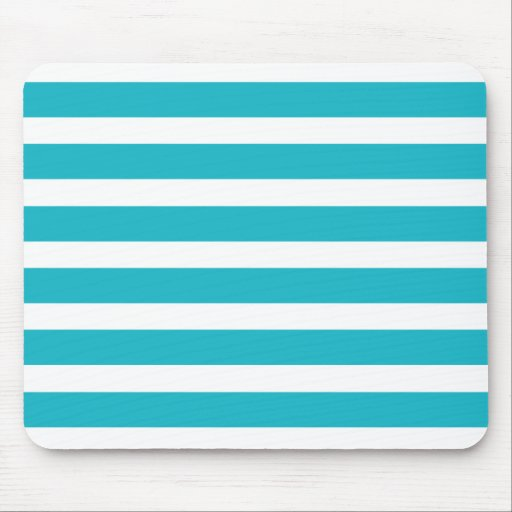 Turquoise and White Stripe Nautical Summer Mousepads