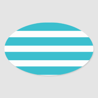 Turquoise and White Stripe Nautical Summer Oval Sticker