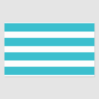 Turquoise and White Stripe Nautical Summer Rectangular Sticker