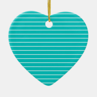 Turquoise and White Stripes Ceramic Ornament