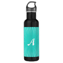 Turquoise and White Sunrays Monogram Stainless Steel Water Bottle