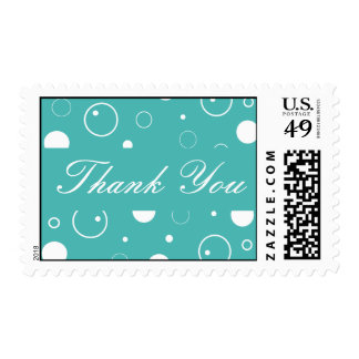 Turquoise and White Thank You Bubbles Postage
