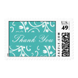 Turquoise and White Thank You Floral Vine Postage