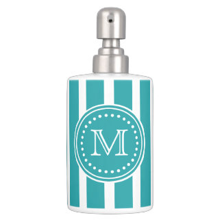 turquoise and white vertical stripes monogram soap dispenser and toothbrush holder