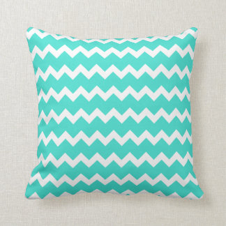 Turquoise and White Zigzag Throw Pillow