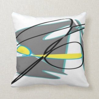 Turquoise and yellow abstract pillow