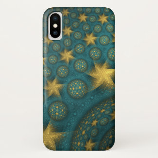 Turquoise and Yellow Abstract Star Pattern iPhone X Case