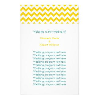 Turquoise and Yellow Chevron Wedding Flyer
