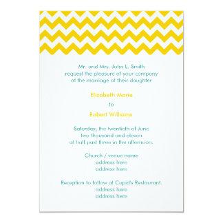 Turquoise and Yellow Chevron Wedding Invitation