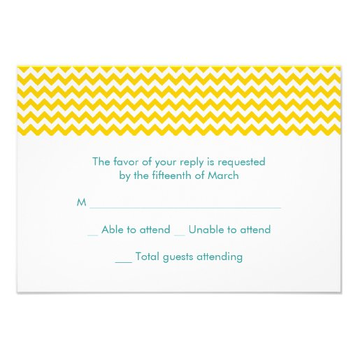 Turquoise And Yellow Chevron Wedding RSVP Card 35 X 5 Invitation Card