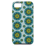 Turquoise and Yellow Retro Mandala Pattern iPhone 5 Covers