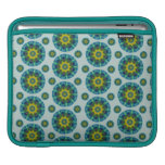 Turquoise and Yellow Retro Mandala Pattern iPad Sleeves