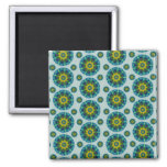 Turquoise and Yellow Retro Mandala Pattern Refrigerator Magnet