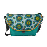 Turquoise and Yellow Retro Mandala Pattern Courier Bags