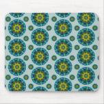 Turquoise and Yellow Retro Mandala Pattern Mouse Pad