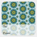 Turquoise and Yellow Retro Mandala Pattern Square Stickers
