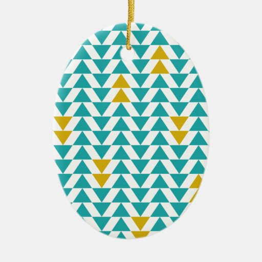 Turquoise and Yellow Triangles Ceramic Ornament