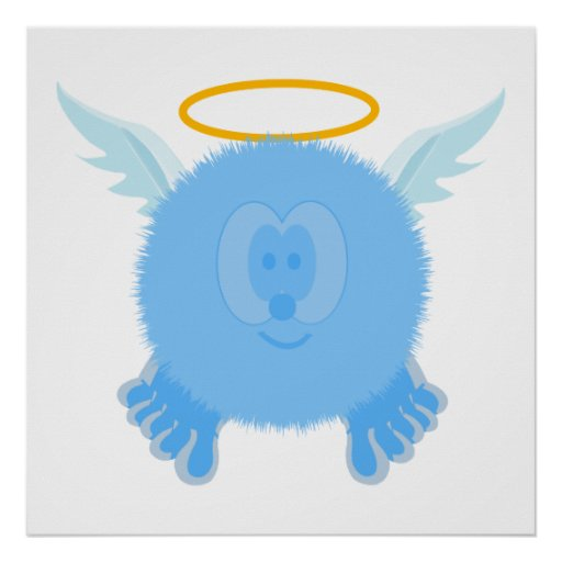 Turquoise Angel Pom Pom Pal Poster Print