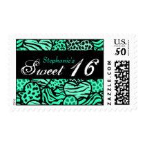 Turquoise animal pattern hearts Sweet 16 postage