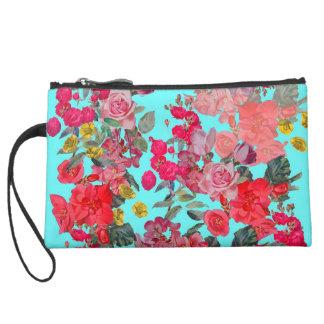 Turquoise Antique Floral Small Handbag Suede Wristlet Wallet
