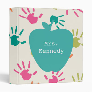 Turquoise Apple Colorful Handprints Teacher Binder