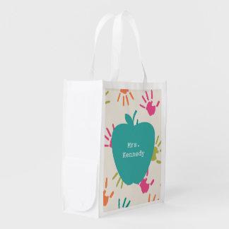Turquoise Apple Colorful Handprints Teacher Reusable Grocery Bag