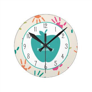 Turquoise Apple Colorful Handprints Teacher Round Clock