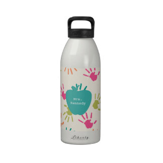 Turquoise Apple Colorful Handprints Teacher Water Bottle