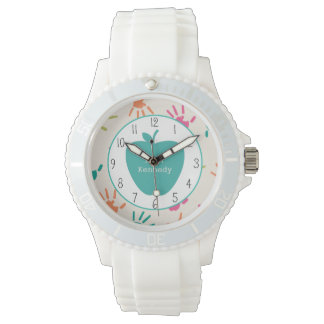 Turquoise Apple Colorful Handprints Teacher Wristwatch