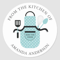Turquoise Apron Kiss the Cook From the Kitchen of Classic Round Sticker