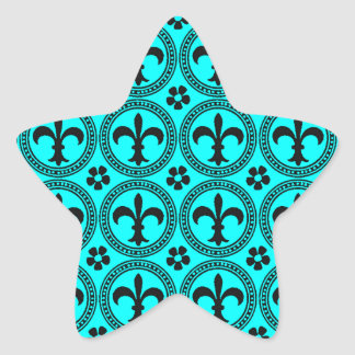 Turquoise Aqua And Black Fleur De Lis Pattern Star Sticker