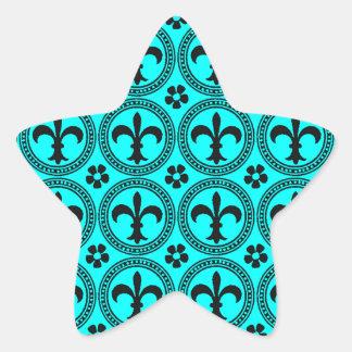 Turquoise Aqua And Black Fleur De Lis Pattern Star Sticker