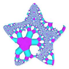 Turquoise Aqua and Purple Fractal Art Stickers