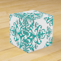 Turquoise Aqua and White Fancy Floral Damask Favor Box