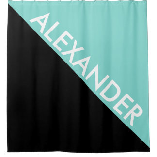 black and turquoise shower curtain. Turquoise Aqua Black 2 Bold Triangle Diag Monogram Shower Curtain And Curtains  Zazzle