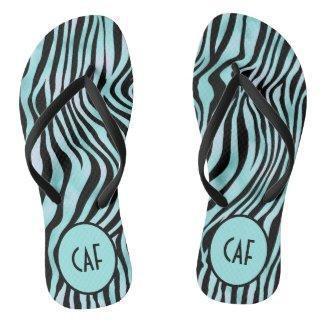 Turquoise Aqua Black Zebra Animal Print Monogram Flip Flops