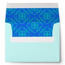 Turquoise  Aqua & Blue Arabesque Moroccan Graphic Envelope