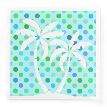Beach Themed Turquoise Aqua Blue Lime Green Polkadots Pattern Paper Dinner Napkin
