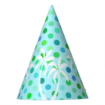 Beach Themed Turquoise Aqua Blue Lime Green Polkadots Pattern Party Hat