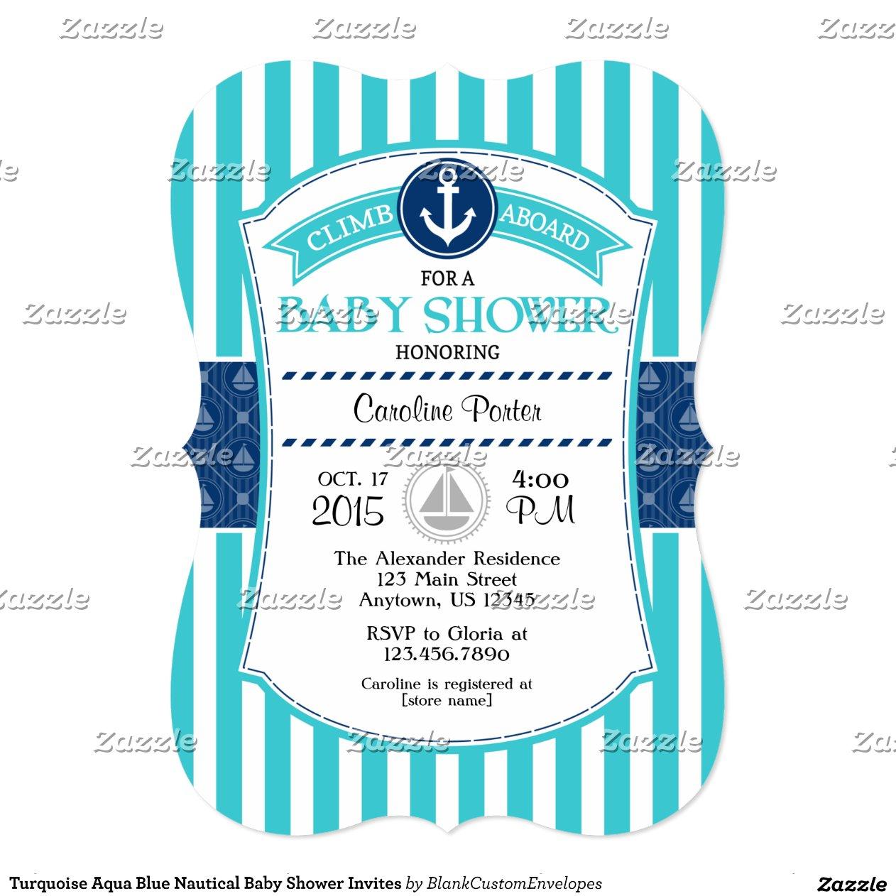 turquoise aqua blue nautical baby shower invites zazzle