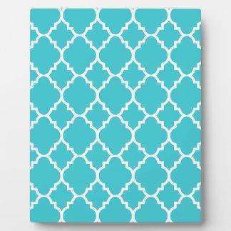 Turquoise Aqua Blue Quatrefoil Moroccan Pattern Plaque