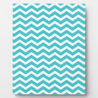 Turquoise Aqua Blue White Chevron Pattern Plaque
