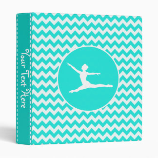 Turquoise, Aqua Color Chevron; Ballet 3 Ring Binder