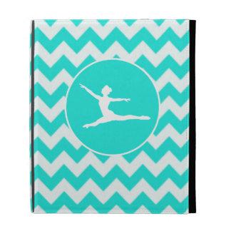 Turquoise, Aqua Color Chevron; Ballet iPad Cases
