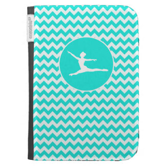 Turquoise, Aqua Color Chevron; Ballet Kindle Keyboard Cases