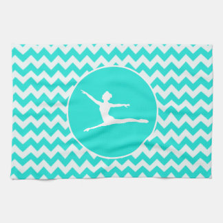 Turquoise, Aqua Color Chevron; Ballet Kitchen Towel