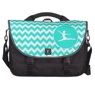 Turquoise, Aqua Color Chevron; Ballet Bags For Laptop